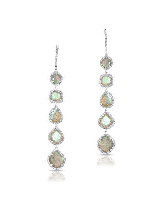 Anne Sisteron - Metallic 14kt White Gold Diamond Labradorite Drops Earrings - Lyst