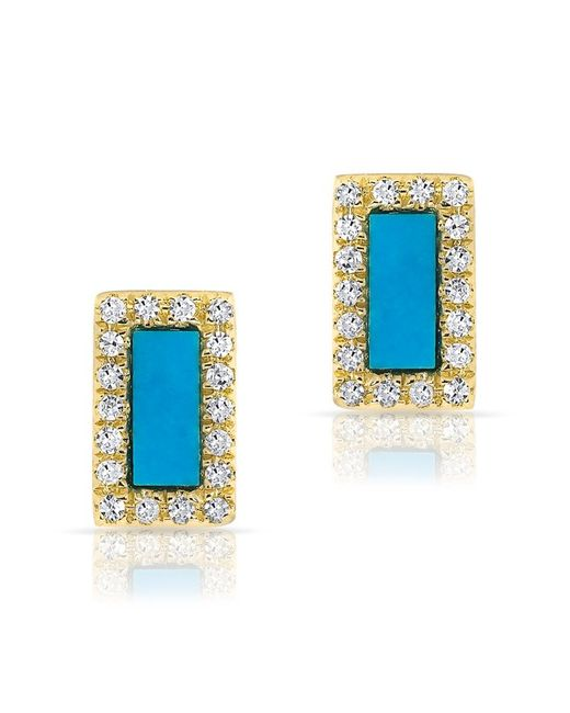Anne Sisteron | Blue 14kt Yellow Gold Turquoise Diamond Bar Stud Earrings | Lyst