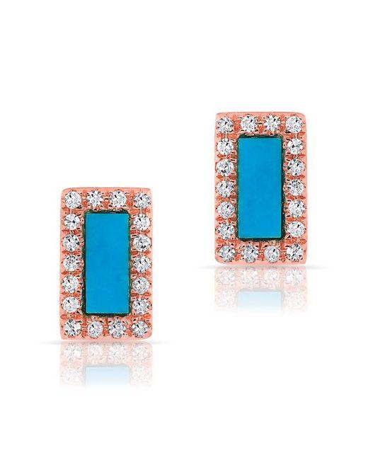 Anne Sisteron | Blue 14kt Rose Gold Turquoise Diamond Bar Stud Earrings | Lyst