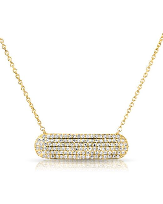 Anne Sisteron | Metallic 14kt Yellow Gold Diamond Id Plate Necklace | Lyst