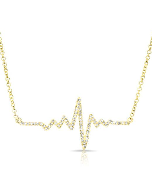 Anne Sisteron - Metallic 14kt Yellow Gold Diamond Small Heartbeat Necklace - Lyst