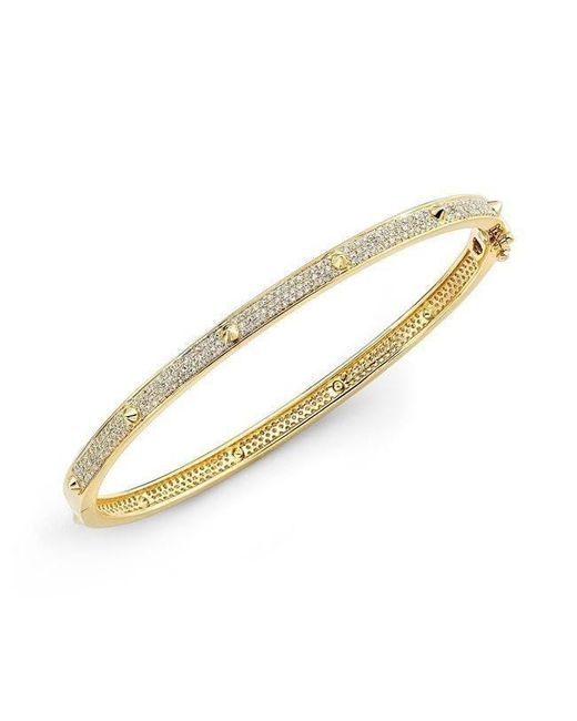 Anne Sisteron - Metallic 14kt Yellow Gold Diamond Spike Bangle - Lyst
