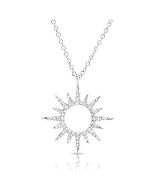Anne Sisteron - Metallic 14kt White Gold Diamond Open Mini Sunburst Necklace - Lyst