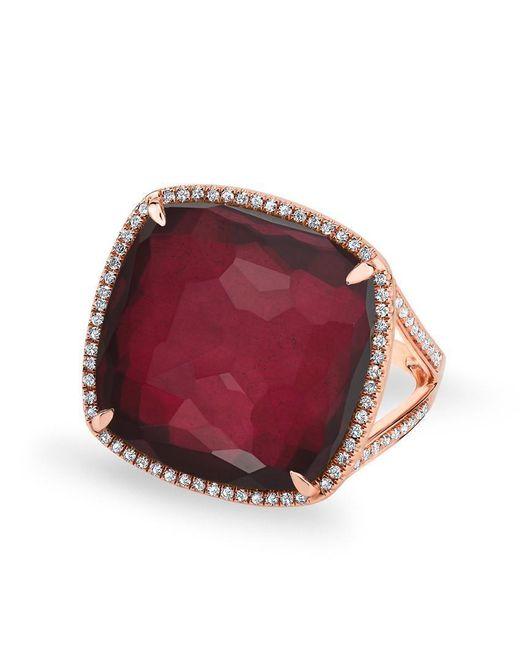 Anne Sisteron - Multicolor 14kt Rose Gold Diamond Pyrite Laguna Triplet Cushion Cut Cocktail Ring - Lyst