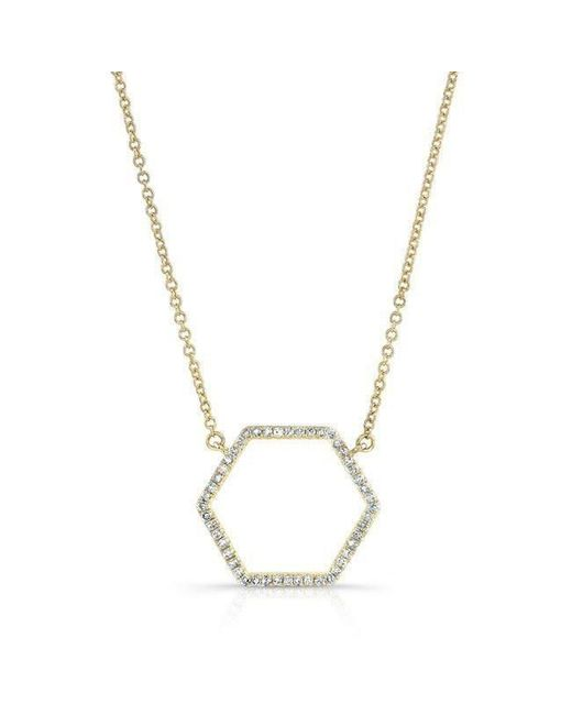 Anne Sisteron - Metallic 14kt Yellow Gold Diamond Hexagon Shaped Necklace - Lyst