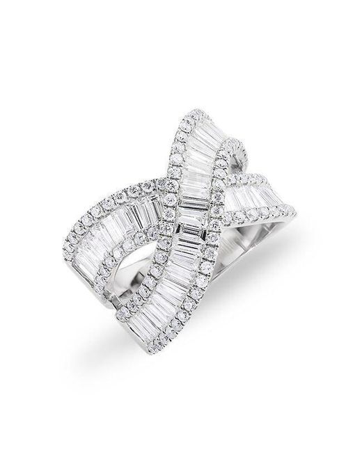 Anne Sisteron - 14kt White Gold Baguette Diamond Wrap Ring - Lyst