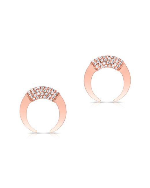 Anne Sisteron - Pink 14kt Rose Gold Diamond Mini Taureau Stud Earrings - Lyst