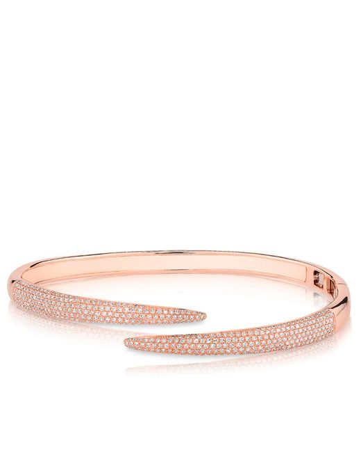 Anne Sisteron - Pink 14kt Rose Gold Diamond Horn Wrap Bangle - Lyst