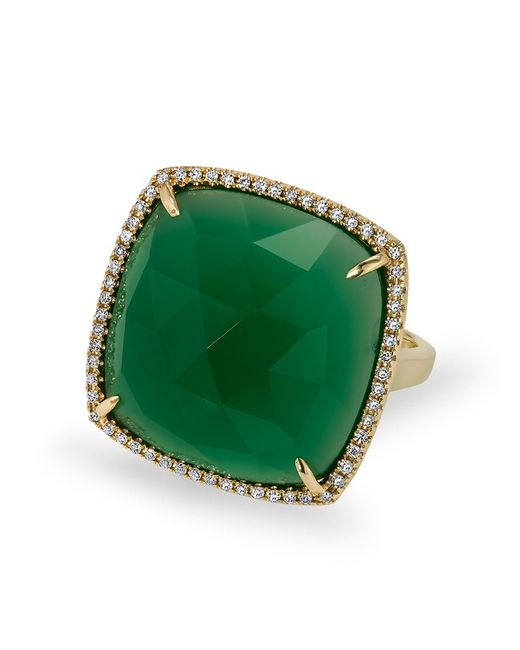 Anne Sisteron | Metallic 14kt Yellow Gold Green Agate Diamond Triplet Cushion Cut Cocktail Ring | Lyst