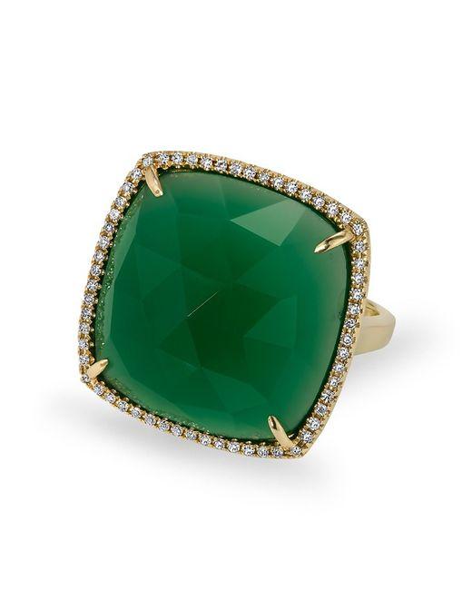 Anne Sisteron | Metallic 14kt Yellow Gold Green Agate Diamond Triplet Cushion Cut Cocktail Ring | Lyst