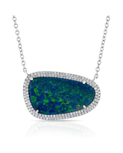 Anne Sisteron - Metallic 14kt Yellow Gold Organic Oval Opal Diamond Necklace - Lyst