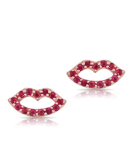 Anne Sisteron   Pink 14kt Rose Gold Ruby Kiss Stud Earrings   Lyst