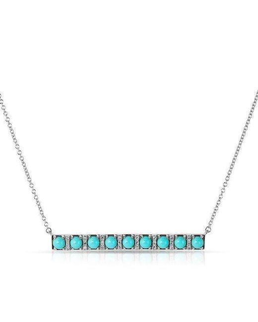 Anne Sisteron - Blue 14kt White Gold Turquoise Diamond Bar Necklace - Lyst