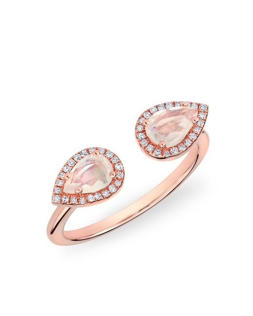 Anne Sisteron - Pink 14kt Rose Gold Moonstone Diamond Throne Ring - Lyst