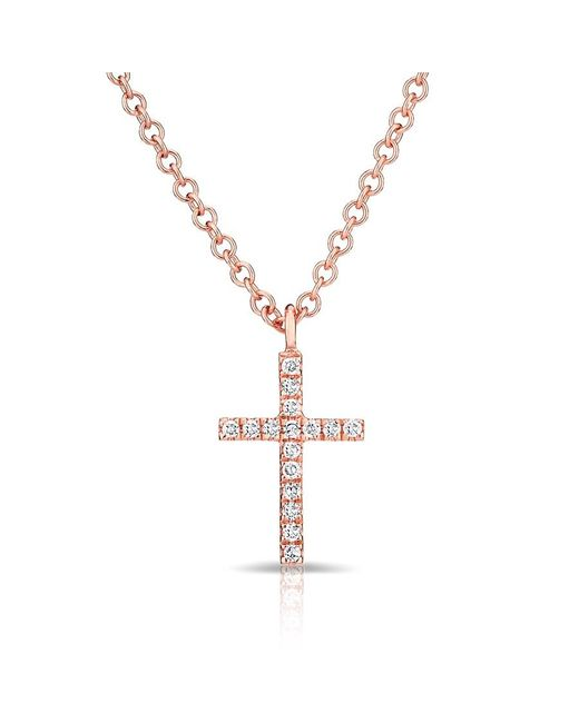 Anne Sisteron | Metallic 14kt Rose Gold Diamond Cross Necklace | Lyst