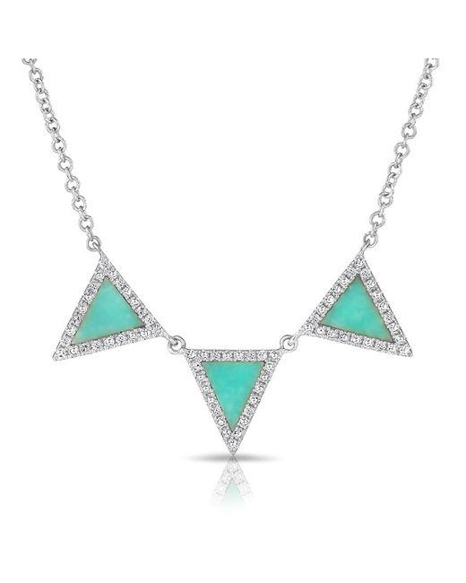 Anne Sisteron | Metallic 14kt White Gold Diamond Turquoise Triple Triangle Necklace | Lyst