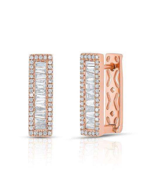 Anne Sisteron | Multicolor 14kt Rose Gold Baguette Diamond Rectangle Honey Huggie Earrings | Lyst