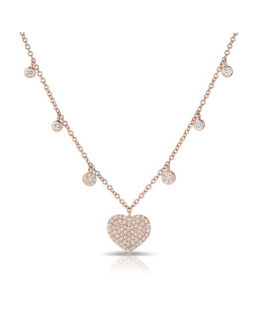 Anne Sisteron | Metallic 14kt Rose Gold Diamond Heart And Droplets Necklace | Lyst