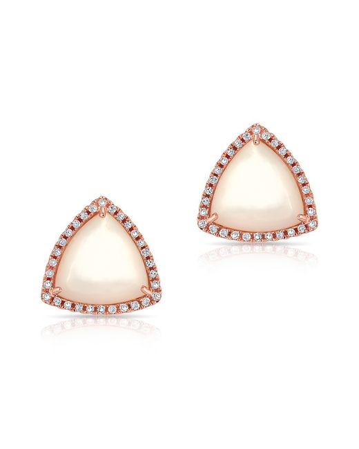 Anne Sisteron | Pink 14kt Rose Gold Mother Of Pearl Diamond Triangle Earrings | Lyst