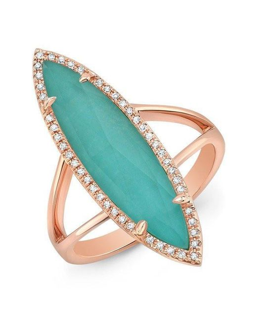 Anne Sisteron - Multicolor 14kt Rose Gold Diamond Small Turquesa Ring - Lyst
