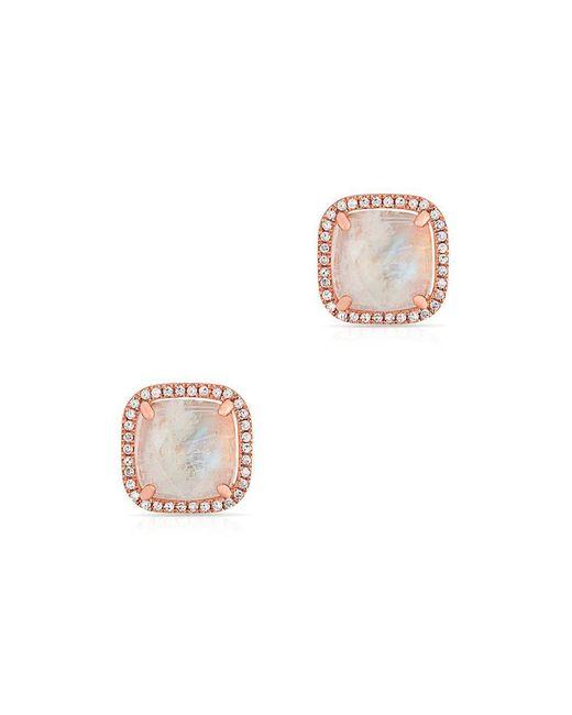 Anne Sisteron - Multicolor 14kt Rose Gold Moonstone Diamond Square Stud Earrings - Lyst