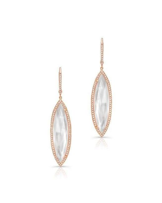 Anne Sisteron | Metallic 14kt Rose Gold Diamond Mother Of Pearl Celeste Marquis Earrings | Lyst