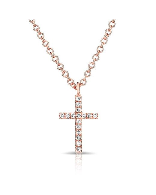 Anne Sisteron - Metallic 14kt Rose Gold Diamond Cross Necklace - Lyst