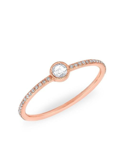Anne Sisteron - Metallic 14kt Rose Gold Diamond Solitaire Ring - Lyst