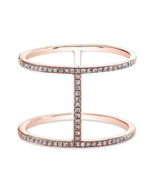 Anne Sisteron - Metallic 14kt Rose Gold Diamond H Trois Ring - Lyst