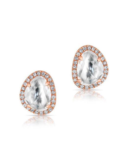 Anne Sisteron | Metallic 14kt Rose Gold Mini Organic Topaz Diamond Stud Earrings | Lyst