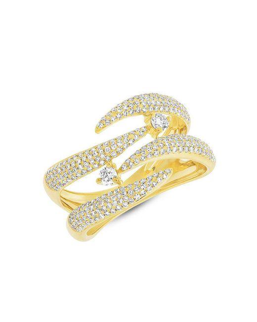 Anne Sisteron - Metallic 14kt Yellow Gold Diamond Small Flame Tip Ring - Lyst