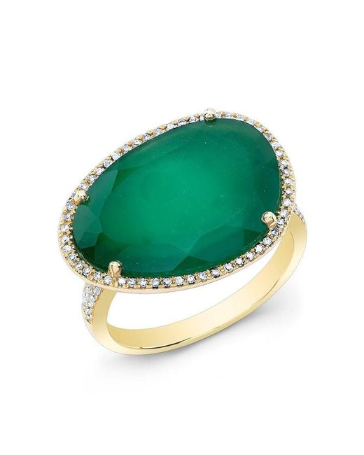 Anne Sisteron - 14kt Yellow Gold Green Onyx Organic Diamond Cocktail Ring - Lyst