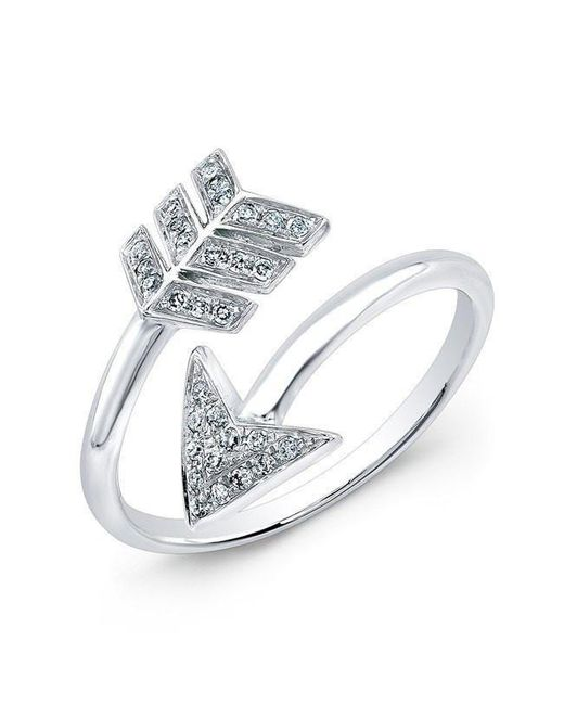 Anne Sisteron | Metallic 14kt White Gold Diamond Wrap Around Arrow Ring | Lyst