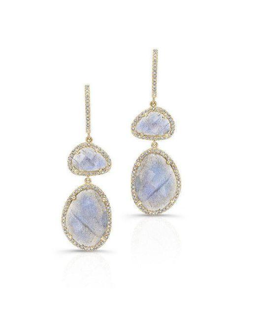 Anne Sisteron - Multicolor 14kt Yellow Gold Labradorite Diamond Splendor Earrings - Lyst