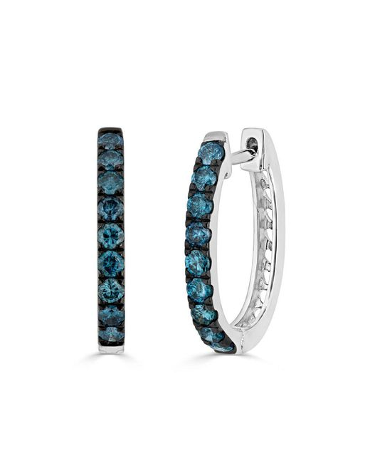 Anne Sisteron - 14kt White Gold Blue Diamond Hoops - Lyst
