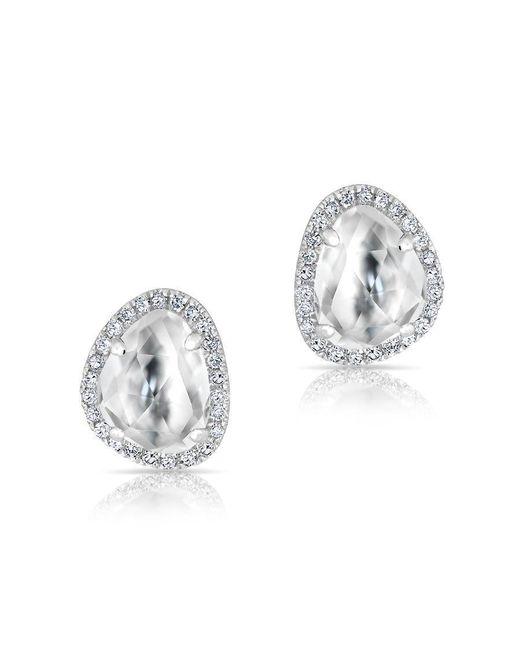 Anne Sisteron - Metallic 14kt White Gold Mini Organic Topaz Diamond Stud Earrings - Lyst