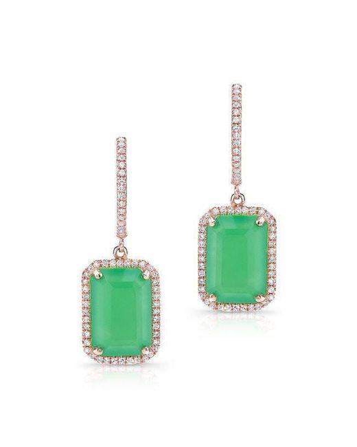 Anne Sisteron - Green 14kt Rose Gold Rectangle Chrysoprase Diamond Earrings - Lyst