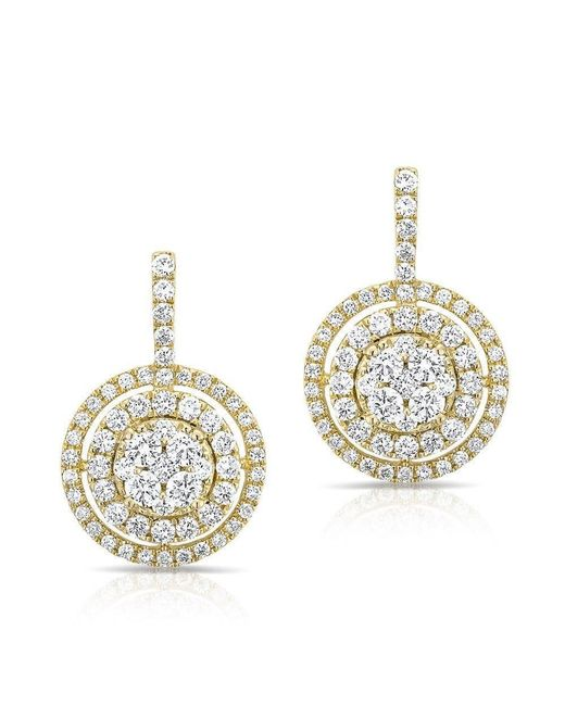 Anne Sisteron | Metallic 14kt Yellow Gold Pave Diamond Double Halo Wireback Earrings | Lyst