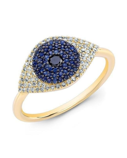 Anne Sisteron - White 14kt Yellow Gold Diamond And Blue Sapphire Evil Eye Ring - Lyst