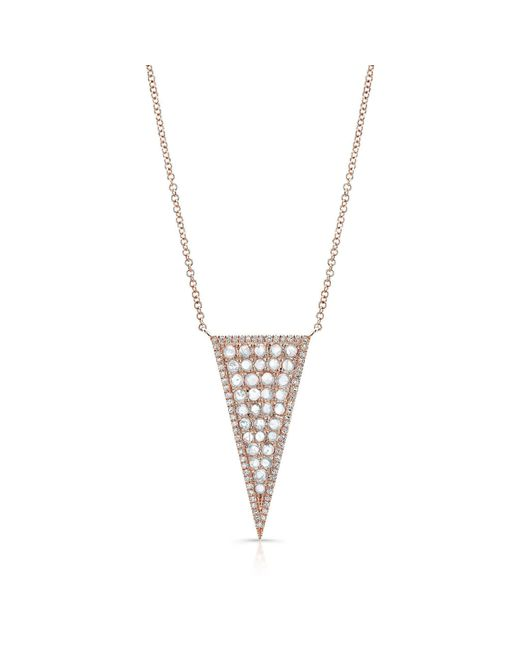 Anne Sisteron | Metallic 14kt Rose Gold Diamond Slice Triangle Necklace | Lyst