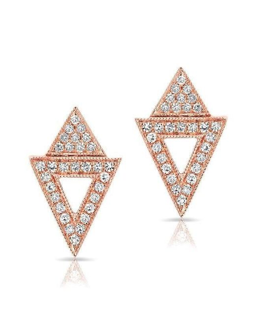 Anne Sisteron - Pink 14kt Rose Gold Diamond Double Triangle Open Stud Earrings - Lyst