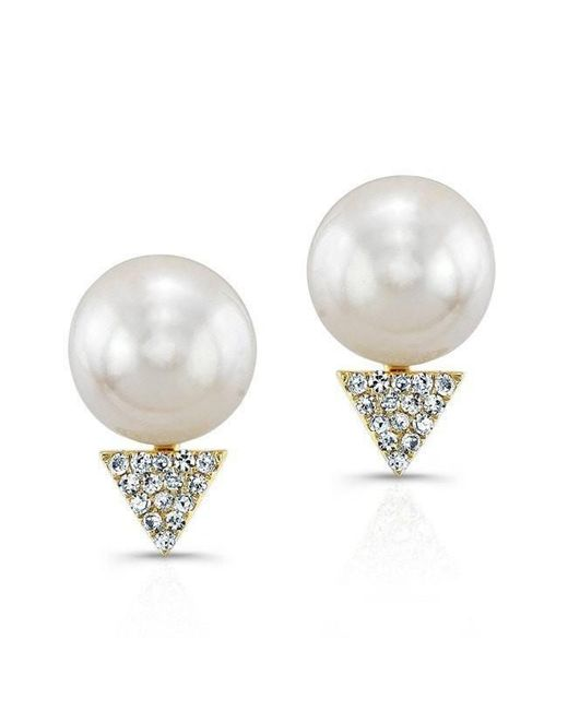 Anne Sisteron - Natural 14kt Yellow Gold Pearl Diamond Triangle Stud Earrings - Lyst