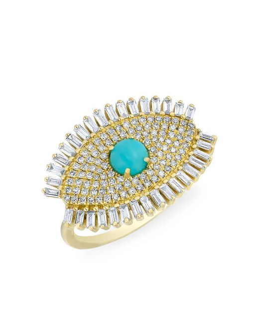 Anne Sisteron - Metallic 14kt Yellow Gold Baguette Diamond Turquoise Evil Eye Gypsy Ring - Lyst
