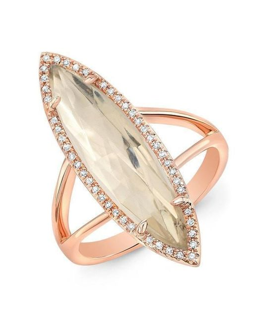 Anne Sisteron - Metallic 14kt Rose Gold Diamond Topaz Small Serena Ring - Lyst