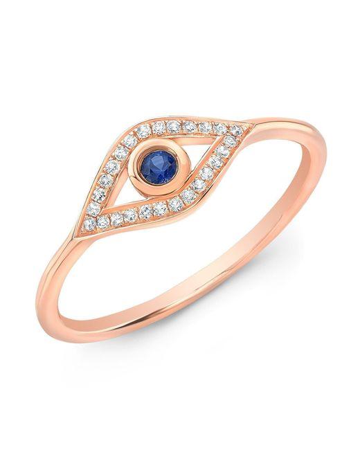 Anne Sisteron - Metallic 14kt Rose Gold Diamond Sapphire Open Evil Eye Ring - Lyst