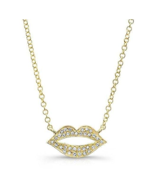 Anne Sisteron - Metallic 14kt Yellow Gold Diamond Lips Necklace - Lyst