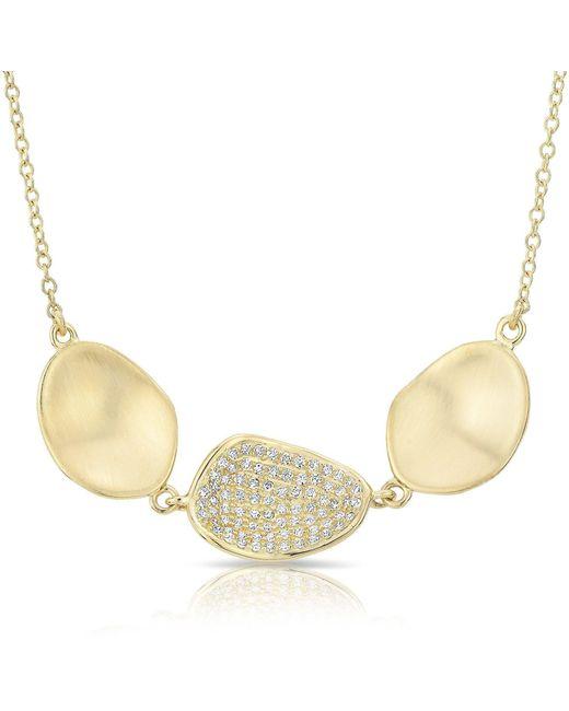 Anne Sisteron - Metallic 14kt Yellow Gold Diamond Trios Petal Necklace - Lyst