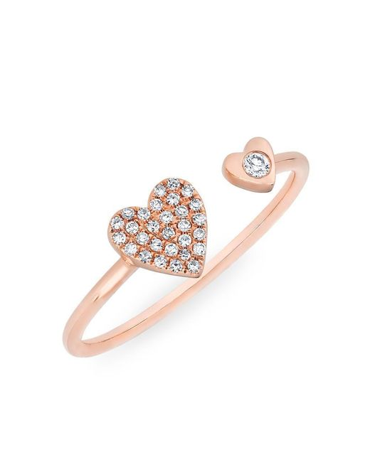 Anne Sisteron | Multicolor 14kt Rose Gold Diamond Double Heart Ring | Lyst
