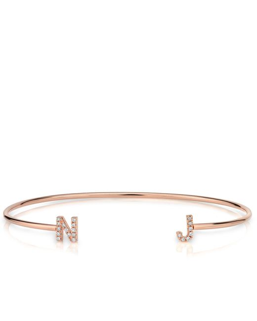 Anne sisteron 14kt Rose Gold Diamond Initial Cuff