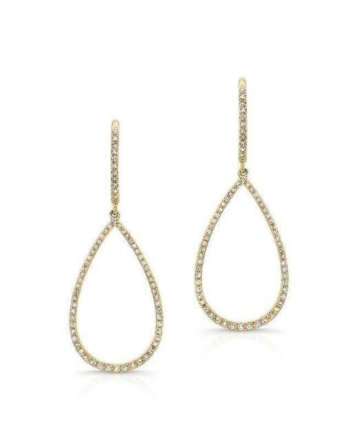 Anne Sisteron - Metallic 14kt Yellow Gold Diamond Small Open Pear Shaped Earrings - Lyst